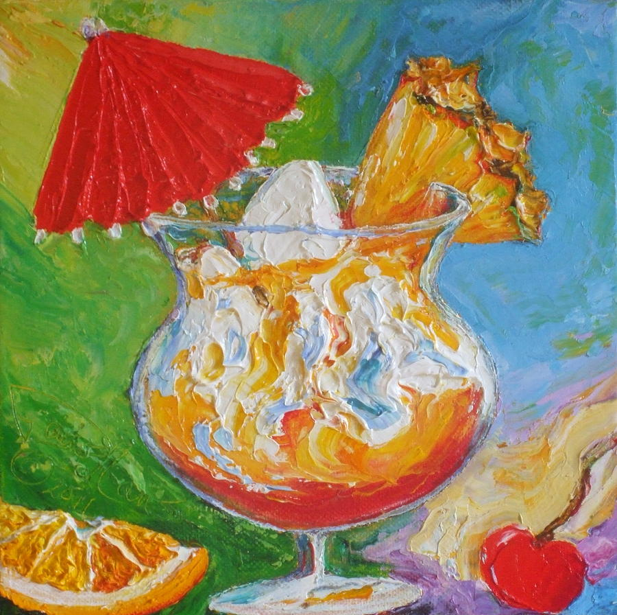 Still Life Painting - Mai Tai Mixed Drink by Paris Wyatt Llanso