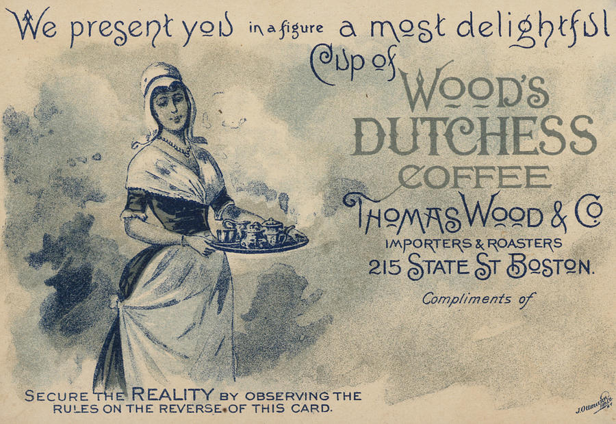 Advertising Painting - Maid Serving Coffee Advertisement For Woods Duchess Coffee Boston  by American School