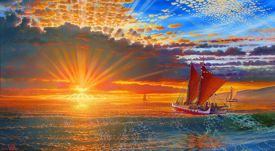 Seascape Painting - Maiden Voyage Of The Mookiha O Piilani by Loren Adams