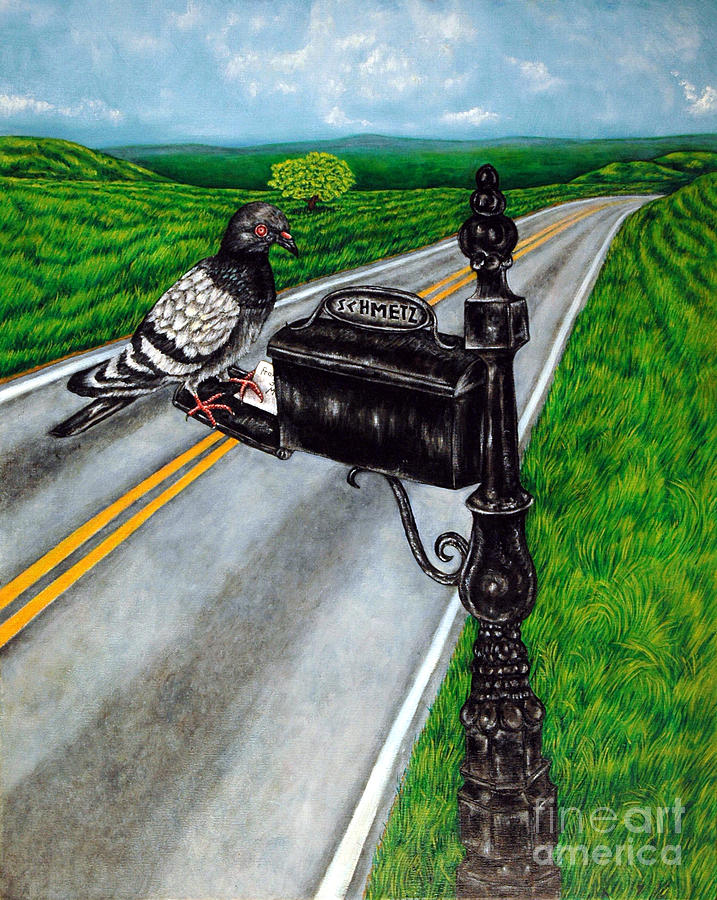 Pigeon Painting - Mail Delivery by Jay  Schmetz