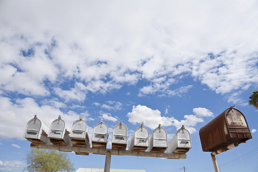 California Photograph - Mailboxes Against Sky by David Litschel