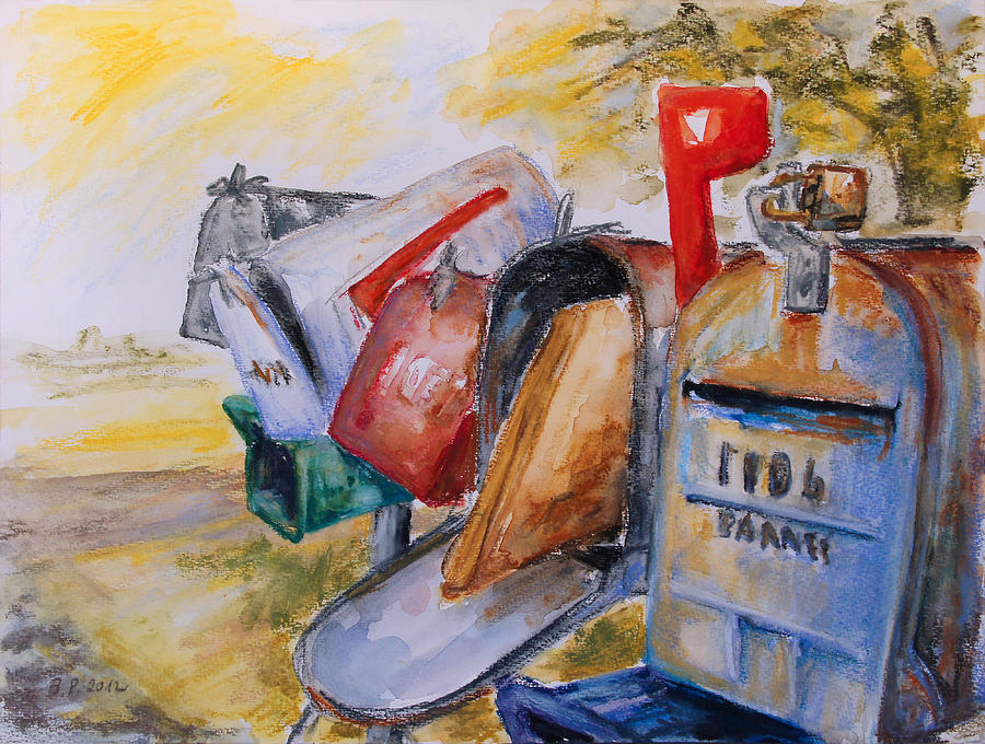 Mailboxes In Texas Painting by Barbara Pommerenke