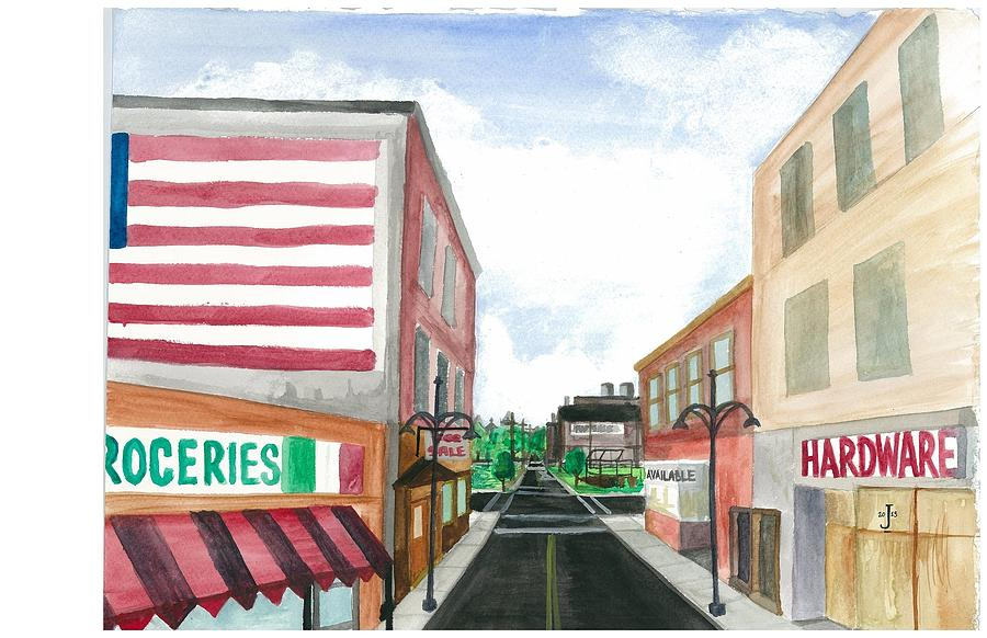 Main St. Is White-washed Windows And Vacant Stores Painting by Jeremiah Iannacci