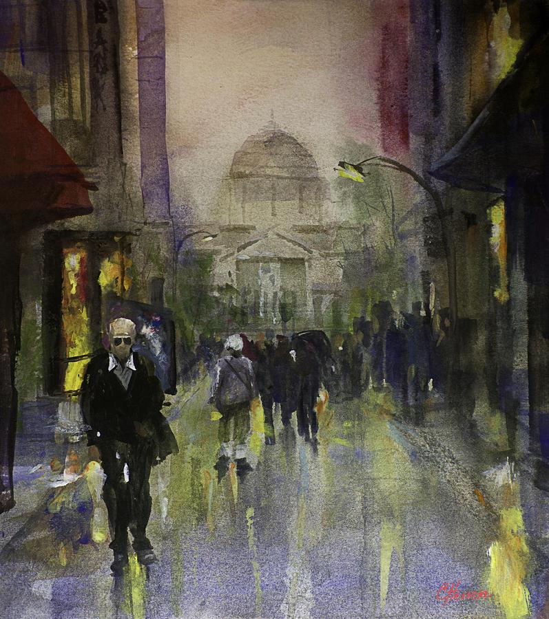 Street Painting - Main Street by Carlos Herrera