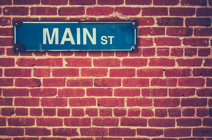 50s Photograph - Main Street Sign by Mr Doomits