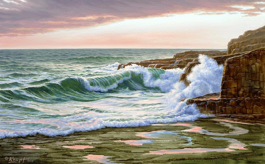 Surf Painting - Maine Coast Morning by Paul Krapf