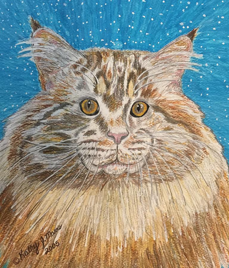 Maine Painting - Maine Coon Cat by Kathy Marrs Chandler
