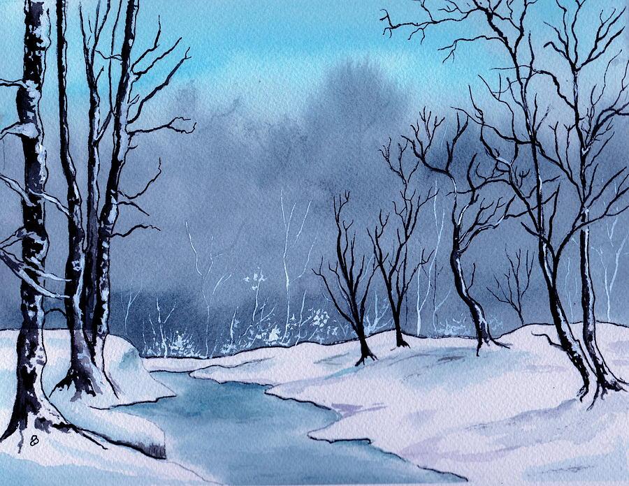 Maine Snowy Woods Painting By Brenda Owen