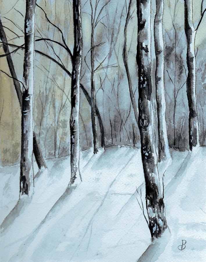 Maine Winter Woods Painting By Brenda Owen