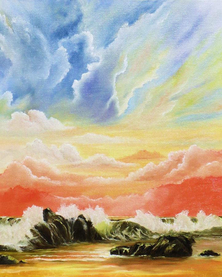 Clouds Painting - Majestic Clouds by Janet Hufnagle