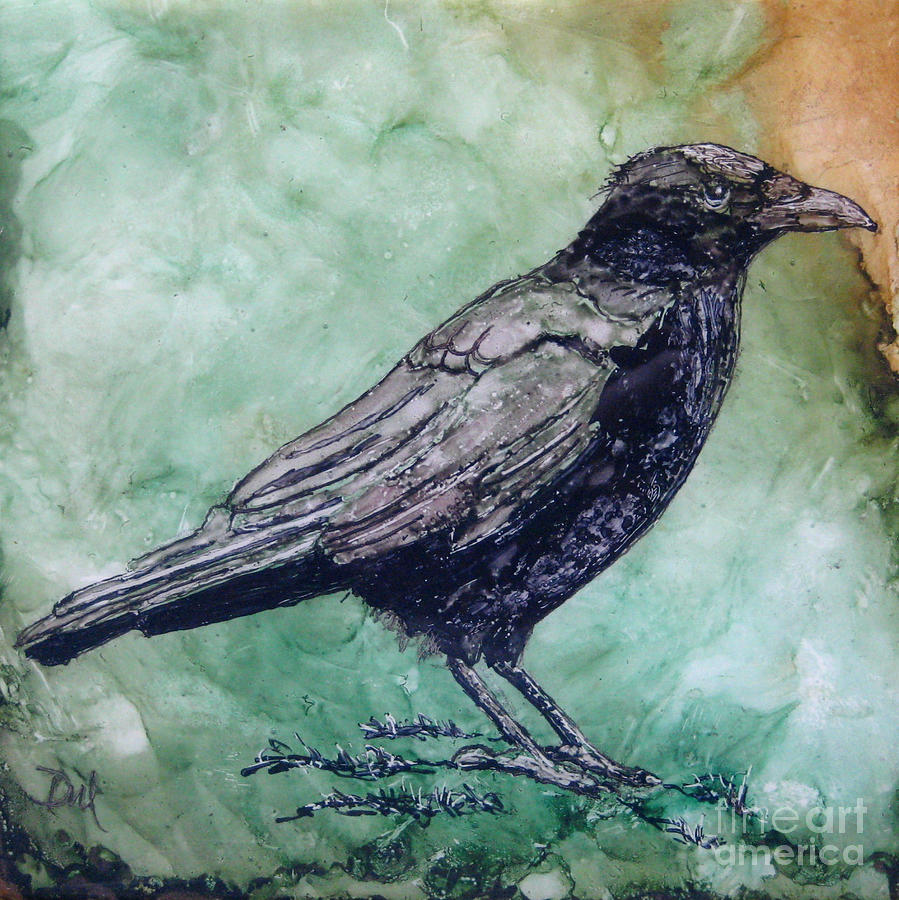 Crow Painting - Majestic Crow by Diane Marcotte