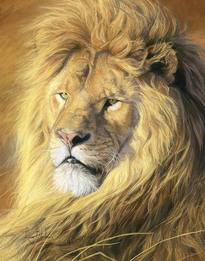 Lion Painting - Majestic - Detail by Lucie Bilodeau