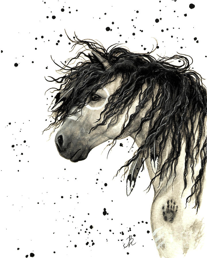 Curly Horse Painting - Majestic Grey Spirit Horse #44 by AmyLyn Bihrle