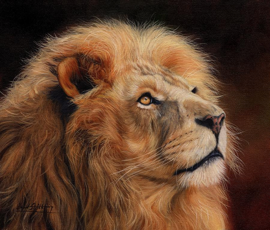 Lion Painting - Majestic Lion by David Stribbling