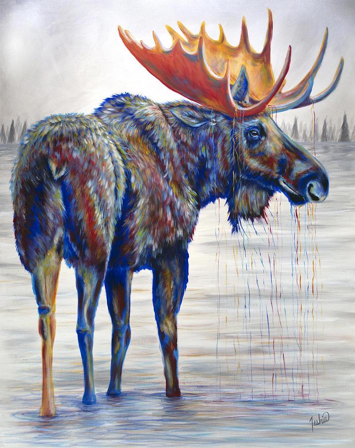 Moose Painting - Majestic Moose by Teshia Art