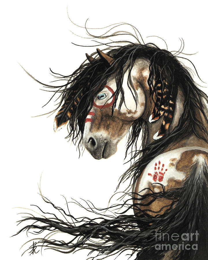 Native American Horse Painting - Majestic Mustang Horse by AmyLyn Bihrle