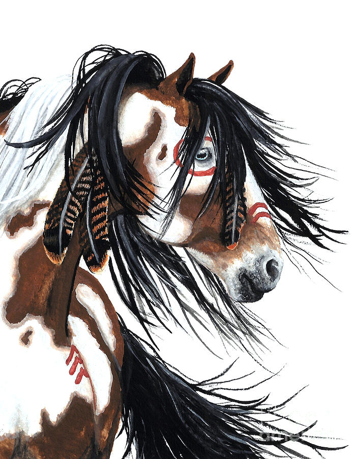 Native American Horse Painting - Majestic Pinto horse by AmyLyn Bihrle