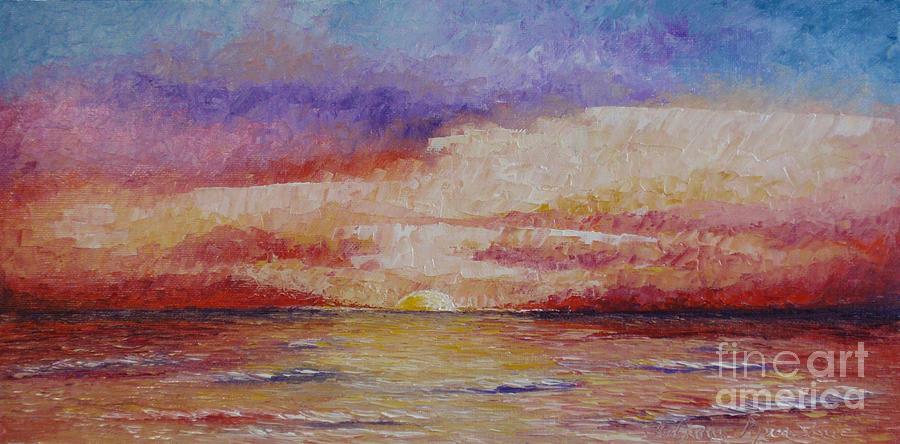 Oil Painting Painting - Majestic Sunset  by Tatjana Popovska