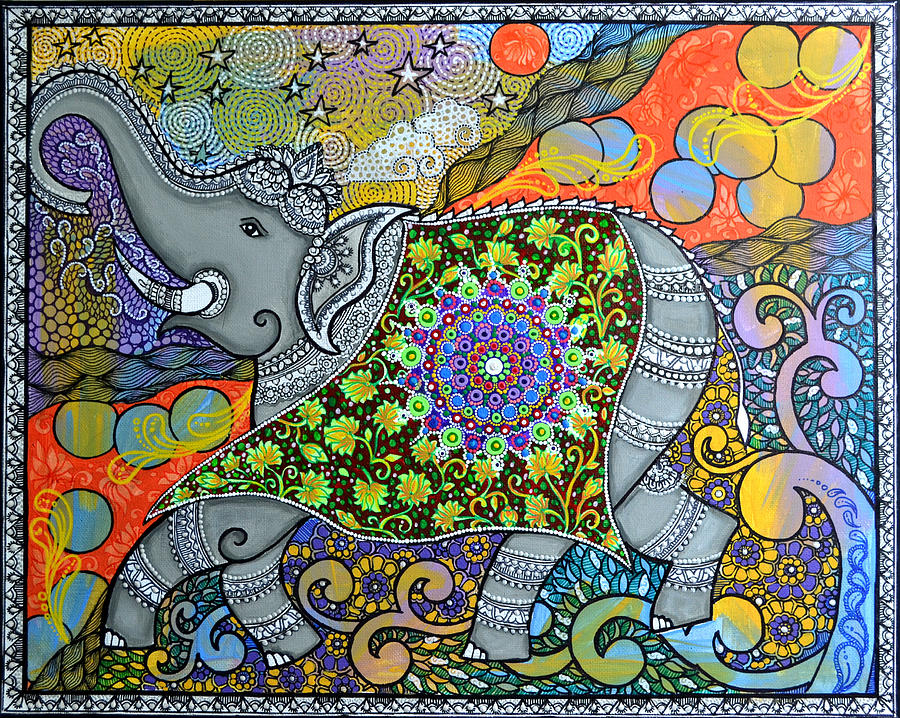 Elephant Painting - Majestic3 by Deepti Mittal