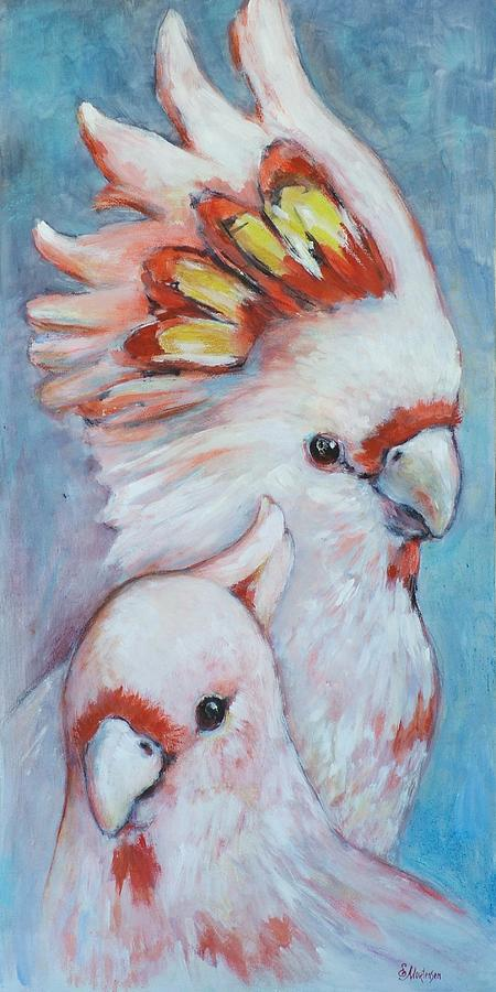 Cockatoos Painting - Major Mitchell Mates 2 by Ekaterina Mortensen