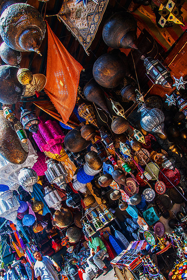 Majorel blue lanters dot the lush display of colors near Jemaa el Fna by Ellie Perla