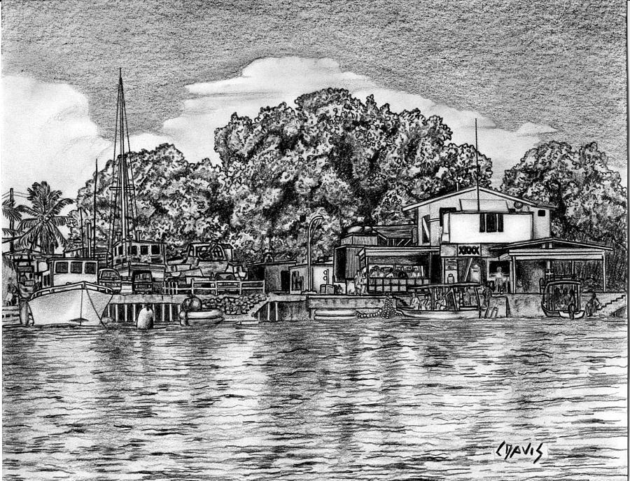Majuro Drawing - Majuro Harbor by Lew Davis