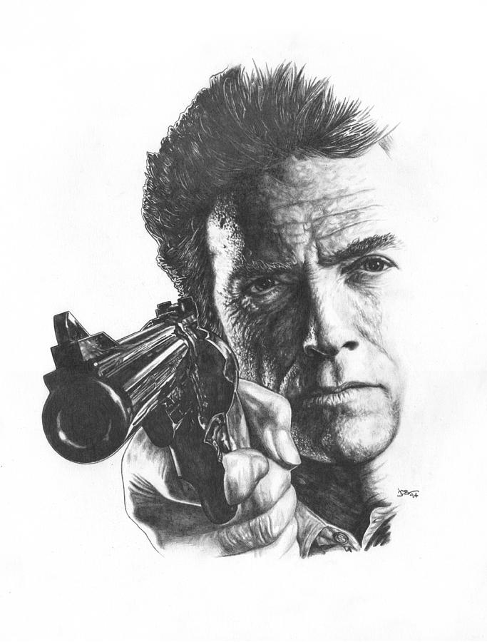 Clint Eastwood Drawing - Make My Day by Jonathan W Brown