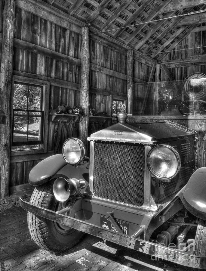 Fire Trucks Photograph - Makers Mark Firehouse 2 Bw by Mel Steinhauer