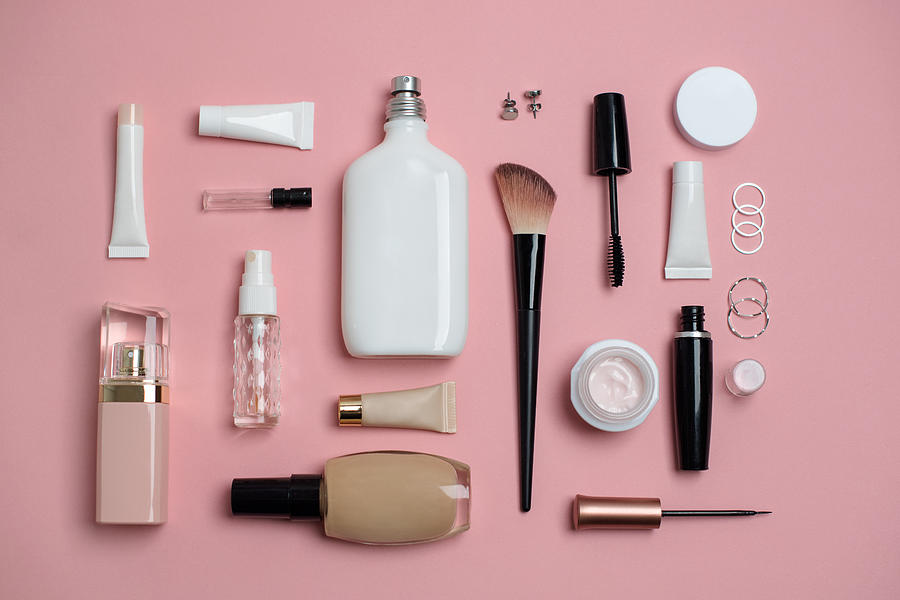 Makeup Bag with variety of beauty products Photograph by Emilija Manevska