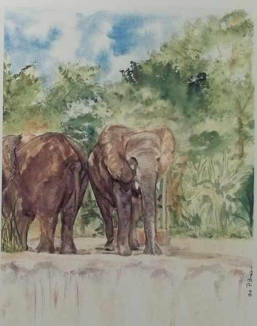 Elephants Painting - Makin Ends Meet by Patty Brown