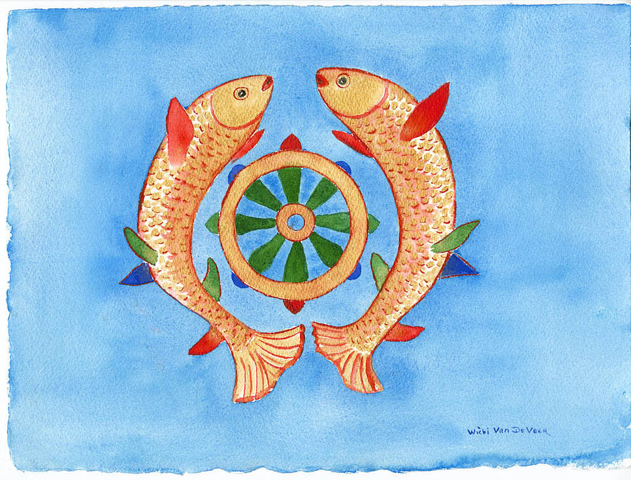 Makya Golden Fish Painting By Wicki Van De Veer