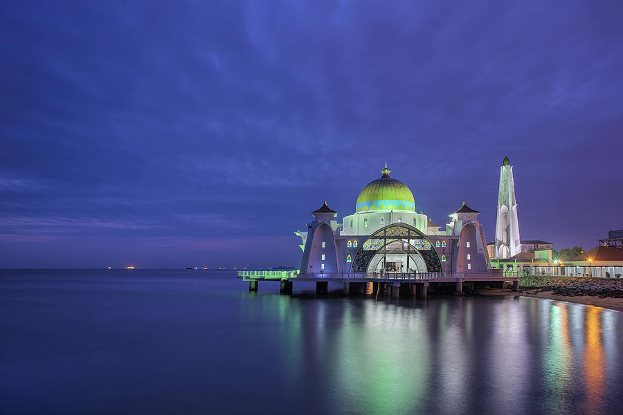 Blue Hour Photograph - Malacca Straits Mosque At Blue Hour by David Gn