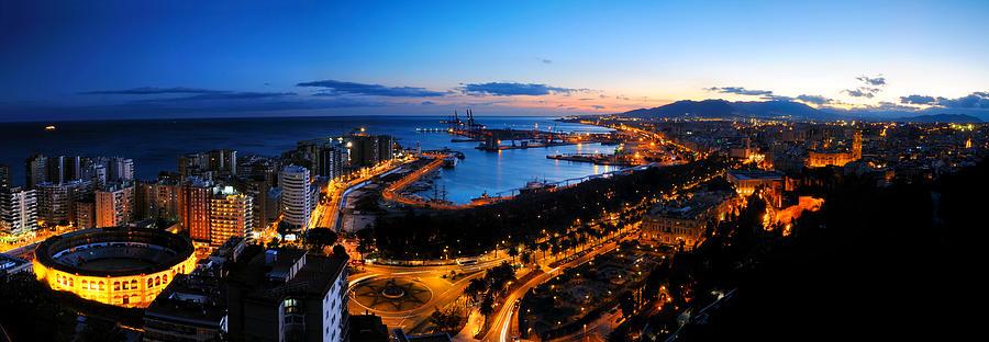 Malaga Dusk Panorama Photograph by ChrisHepburn