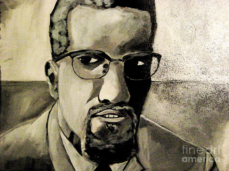 Celebrities Painting - Malcolm X by Sidney Holmes