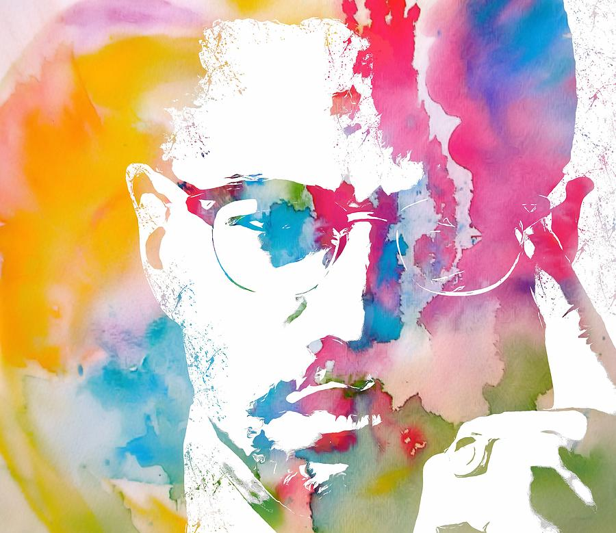 Malcolm X Painting - Malcolm X Watercolor by Dan Sproul