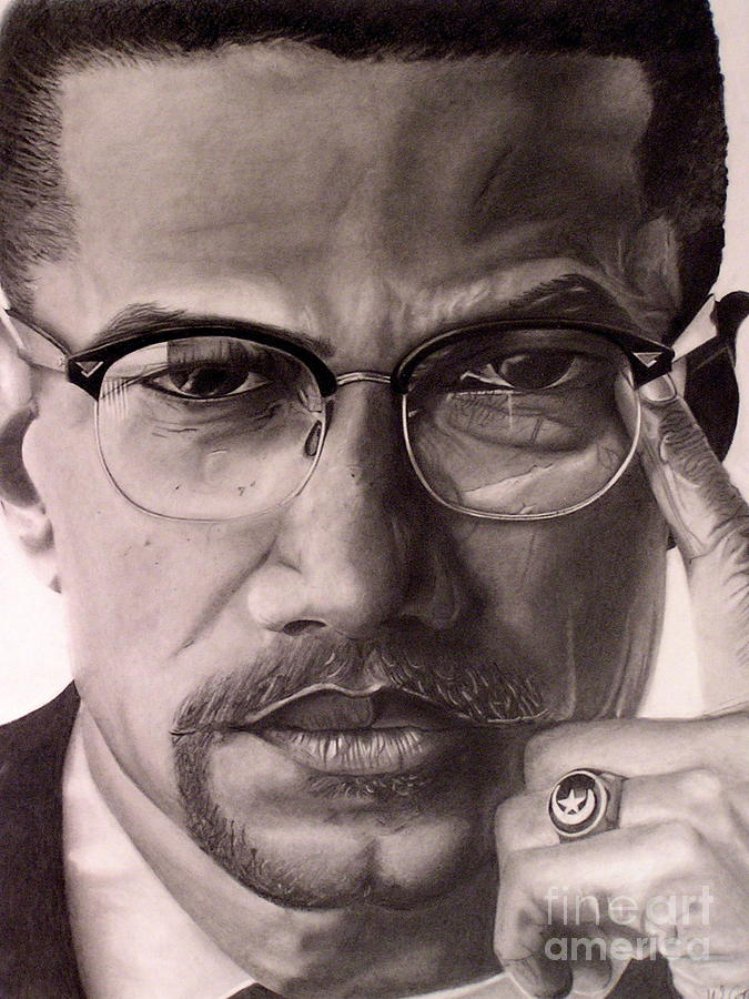 Portriats Drawing - Malcolm X by Wil Golden