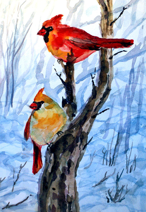 Male And Female Cardinal Painting By Siona Koubek-8511