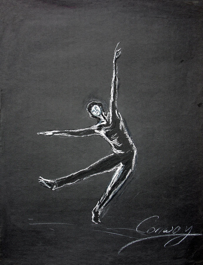 Male Drawing - Male Dancer In White Lines On Black by Tom Conway