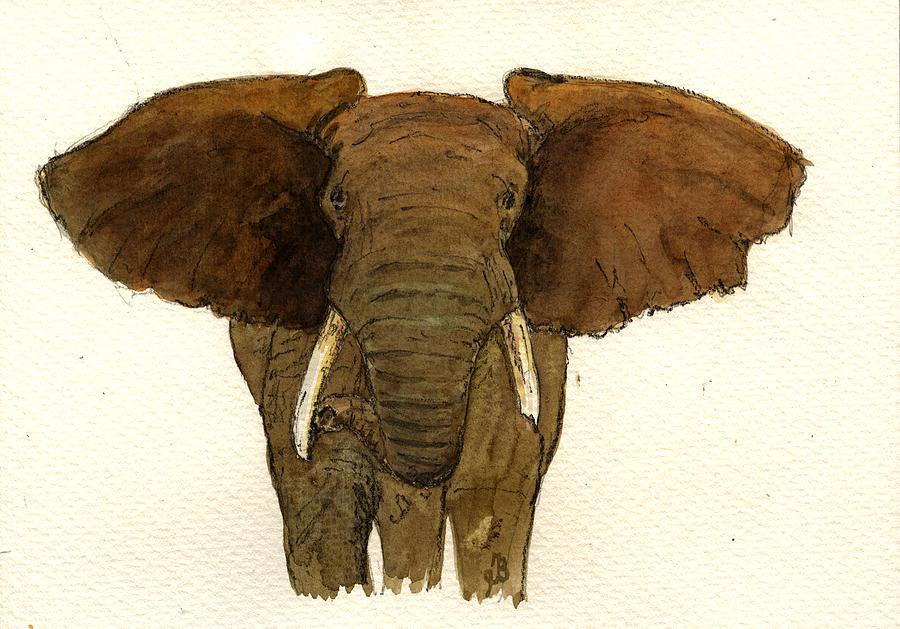Elephant Painting - Male elephant by Juan  Bosco