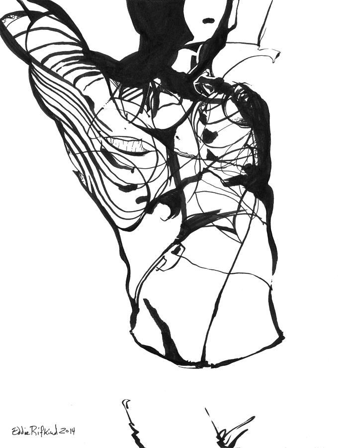 Black Drawing - Male Figure Abstraction by Eddie Rifkind