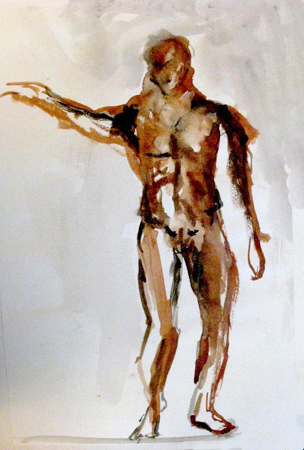 Watercolor Painting - Male Figure by James Gallagher