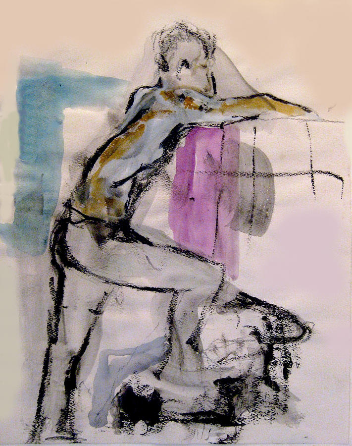 Watercolor Painting - Male Figure Standing Arm Extended by James Gallagher