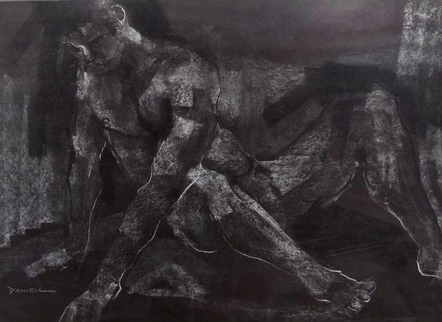 Figure Drawing - Male Figure Study by Frank Daniell