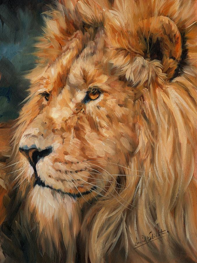 Lion Painting - Male Lion by David Stribbling
