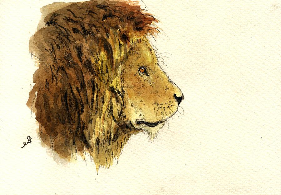 Male Painting - Male lion head by Juan  Bosco