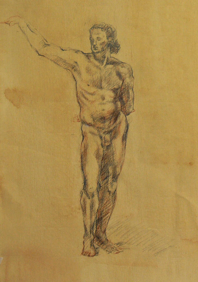 Nude Drawing - Male Nude 5 by Becky Kim