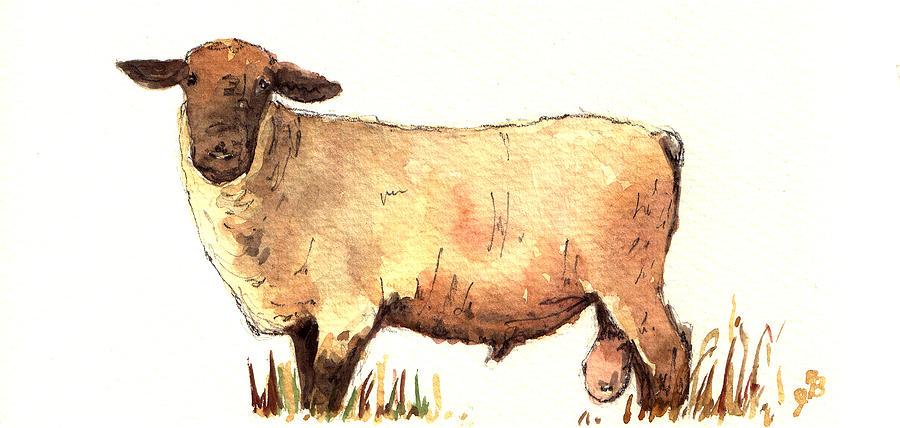 Male Painting - Male sheep black by Juan  Bosco