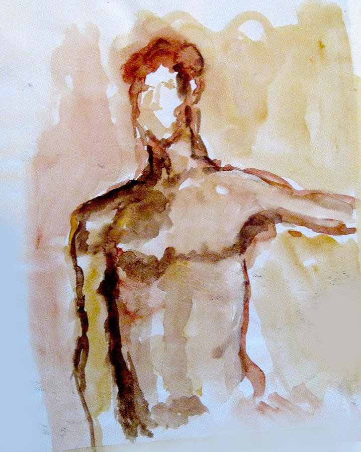 Watercolor Painting - Male Torso by James Gallagher