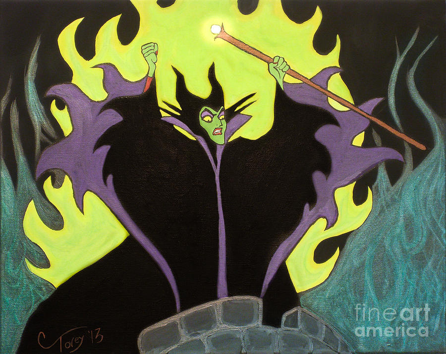 Disney Painting - Maleficent by Casey Tovey