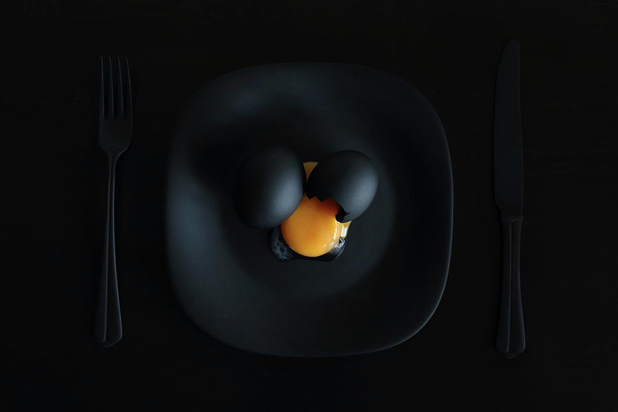 Kitchen Photograph - Malevichs Breakfast. Or The Black Square. by Victoria Ivanova